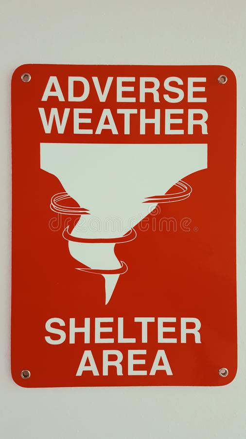 Adverse Weather Shelter Area Sign. Processed with VSCO with p5 preset royalty free stock photography