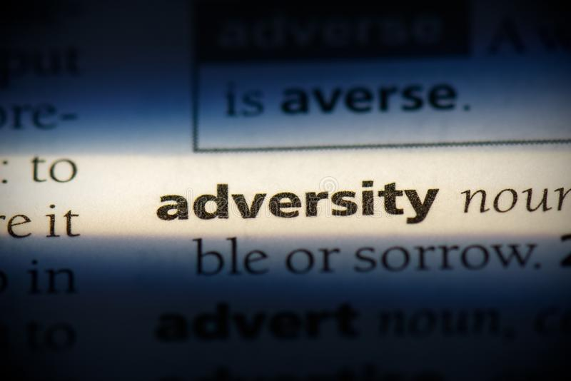 Adversity. Word in a dictionary.  concept, definition royalty free stock photo
