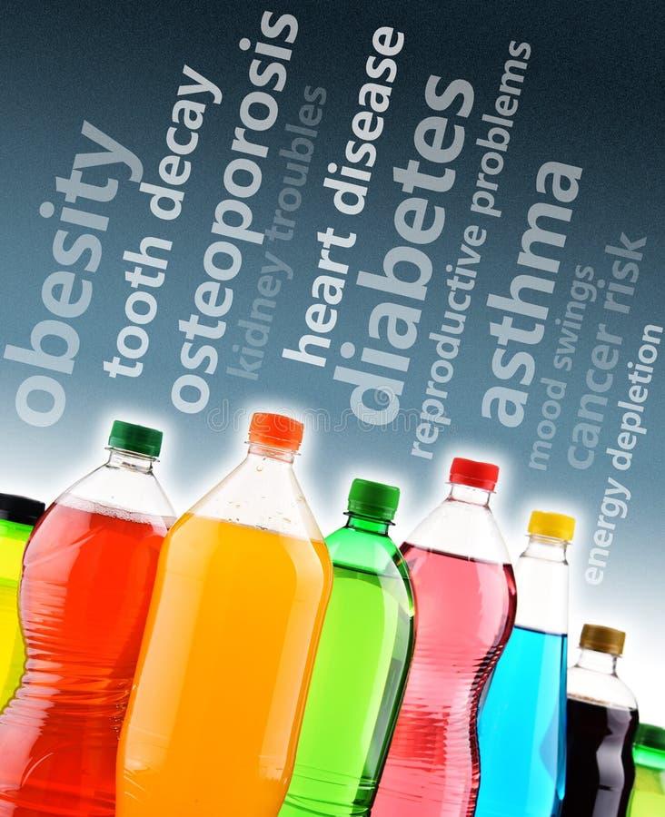 Advertência contra os efeitos perigosos dos refrescos na saúde imagem de stock