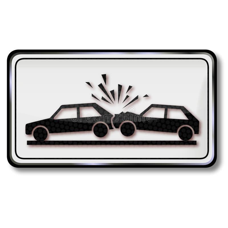 Advertência da colisão com um carro ilustração royalty free
