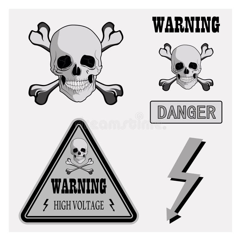 Advertência dos ícones ilustração stock