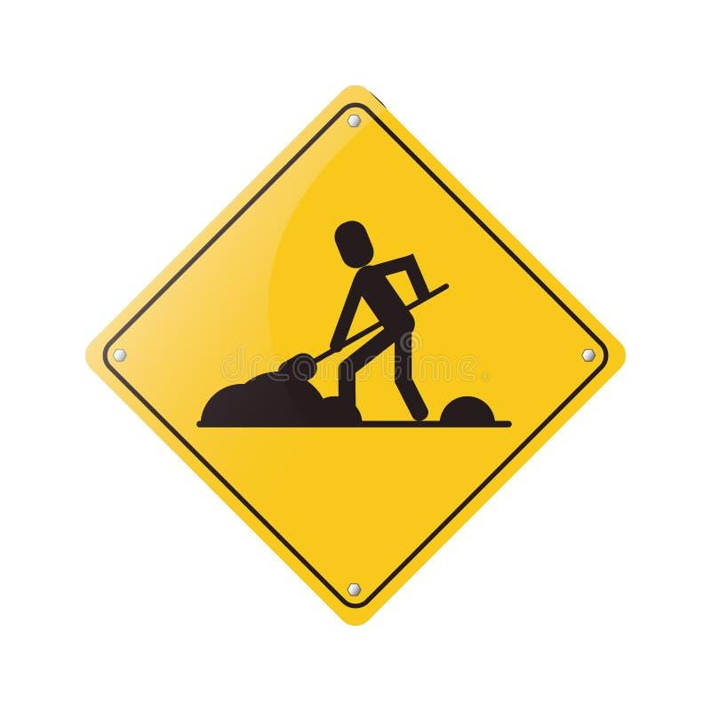 Advertência sob o sinal do reparo da construção ilustração do vetor
