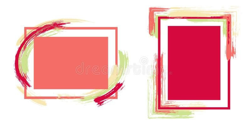 Advert frames with paint brush strokes vector collection. stock photos