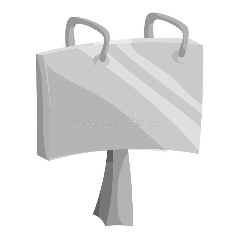 Adverteer aanplakbordpictogram, zwarte zwart-wit stijl stock illustratie