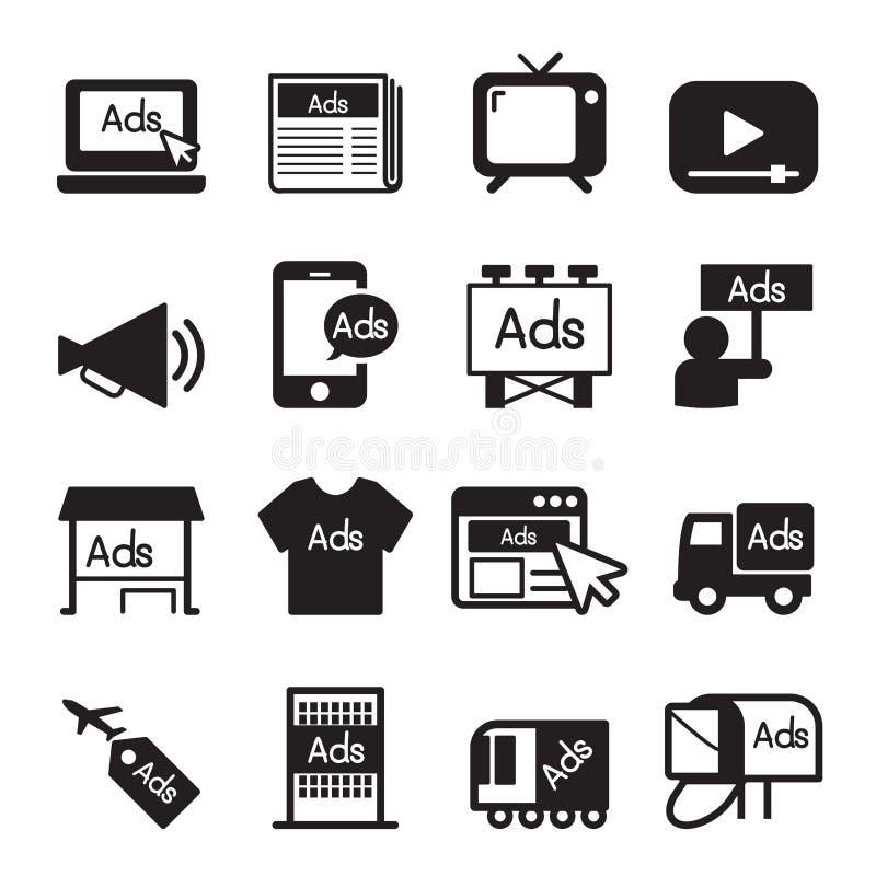 Adverteer pictogramreeks vector illustratie
