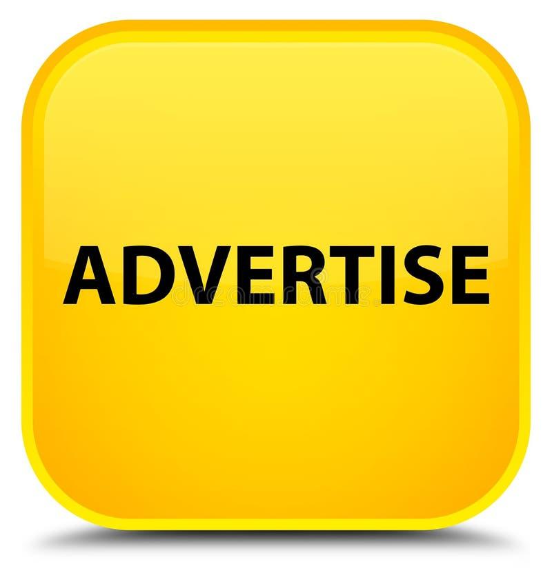 Adverteer speciale gele vierkante knoop stock illustratie