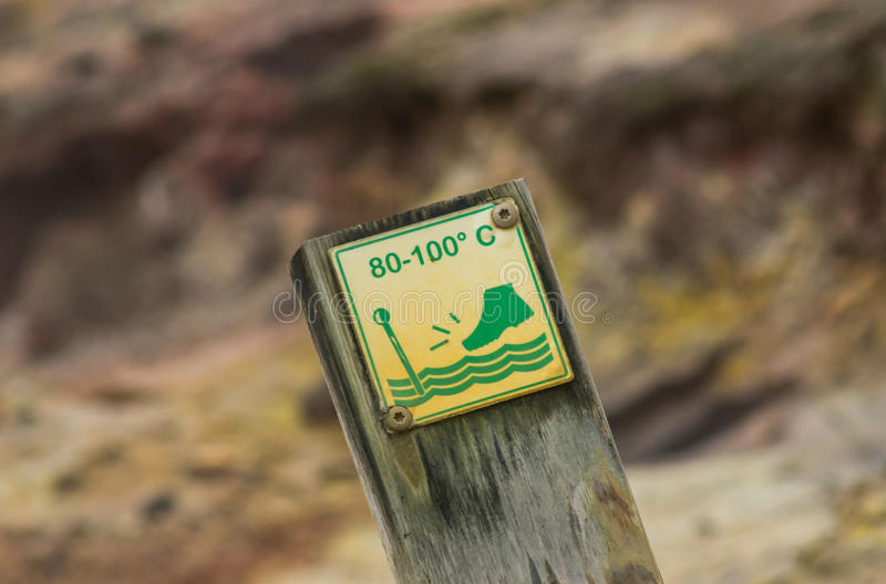 Advertencia geotérmica de la agua caliente foto de archivo libre de regalías