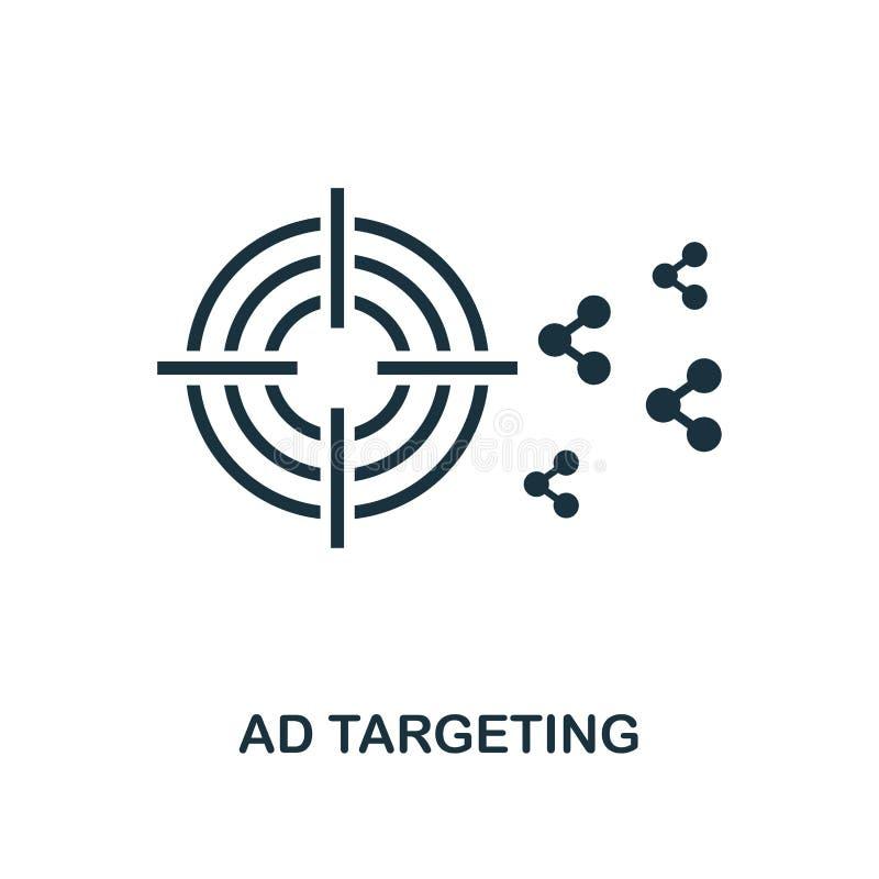 Advertentie die pictogram richten Zwart-wit stijlontwerp van de inzameling van het smmpictogram Ui Advertentie die van het pixel  stock illustratie