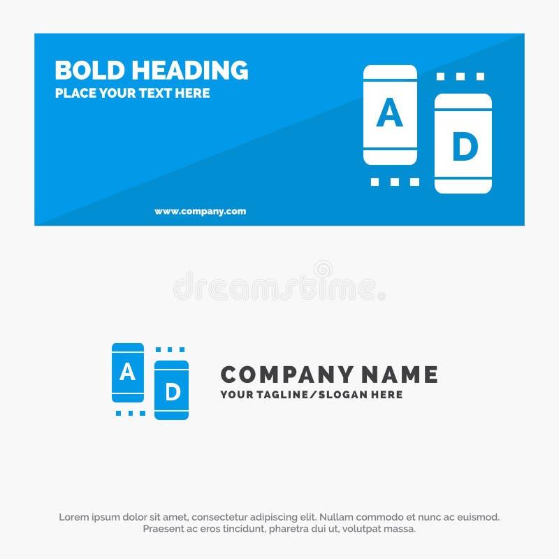 Advertentie, Marketing, Online, de Websitebanner en Zaken Logo Template van het Tablet Stevige Pictogram stock illustratie