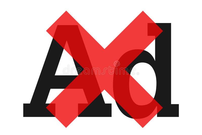 Advertentie, reclame, reclame en reclame worden geblokkeerd en stopgezet vector illustratie