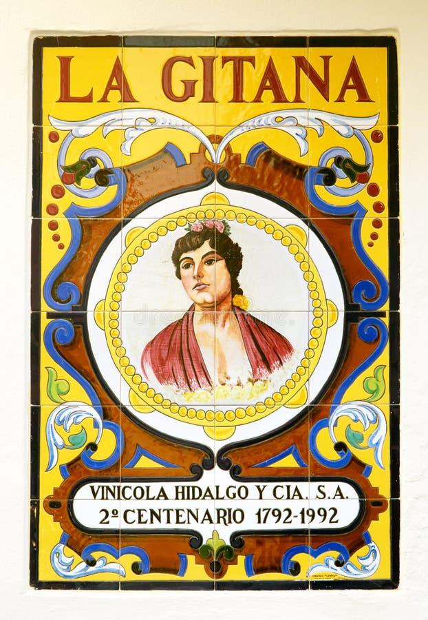 Adverterend in azulejos van een wijnmakerij, Sevilla royalty-vrije stock afbeeldingen