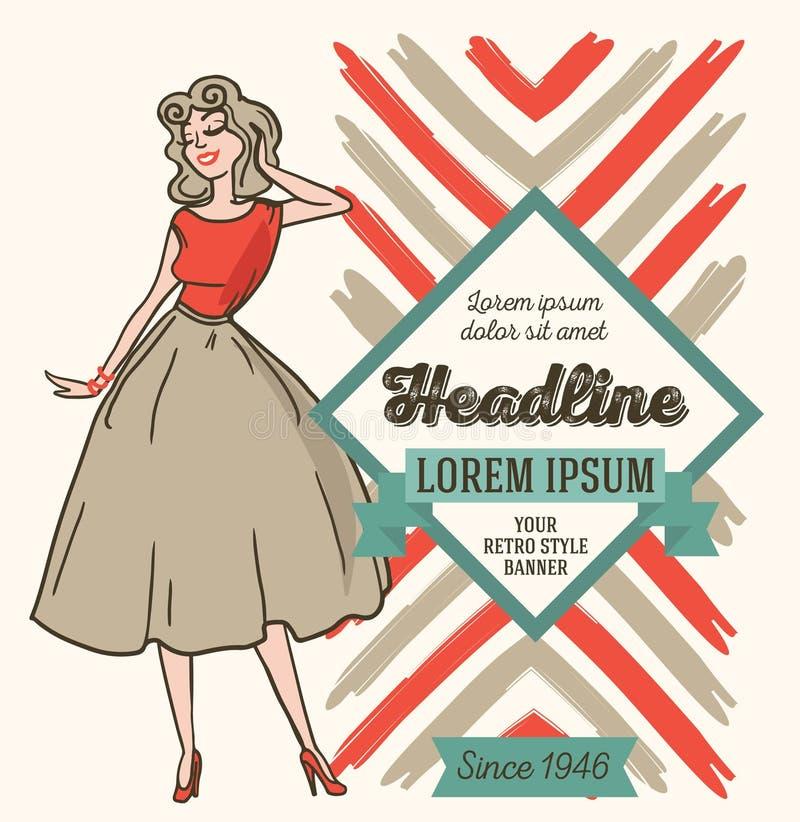 Adverterend banner in retro Amerikaanse stijl, jaren '50 gestileerde vrouw stock illustratie