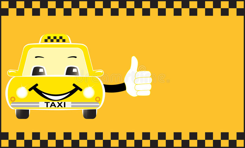 Adverterend de taxi die van het kaartbeeldverhaal duim toont royalty-vrije illustratie