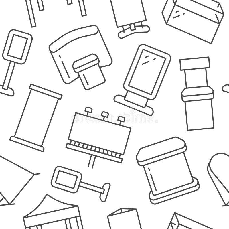 Adverterend de tribunes van de tentoonstellingsbanner, toon naadloos patroon met vlakke lijnpictogrammen Aanplakbord, die marktte stock illustratie