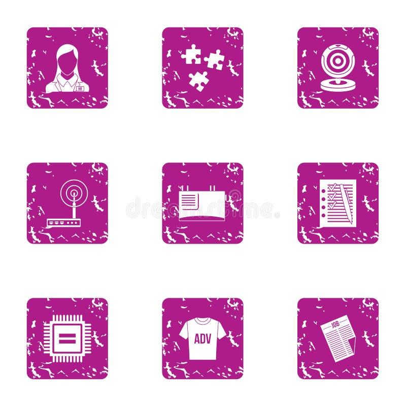Adverterend geplaatste handelspictogrammen, grunge stijl stock illustratie
