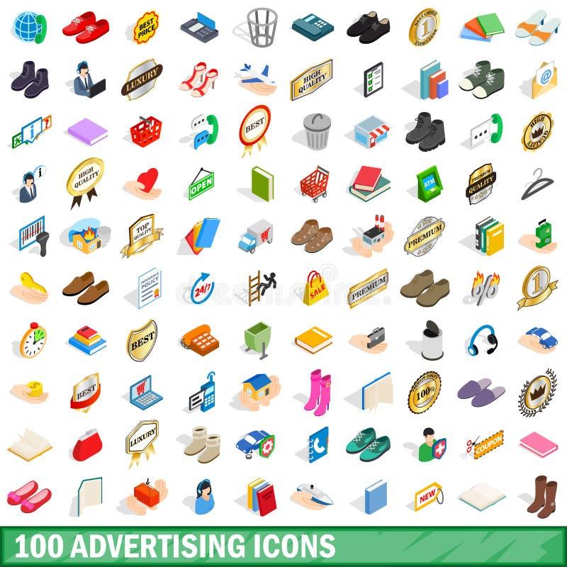 100 adverterend geplaatste pictogrammen, isometrische 3d stijl royalty-vrije illustratie