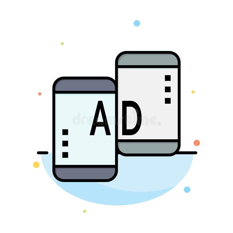 Adverterend, Mobiele, Mobiele Reclame, Marketing het Abstracte Vlakke Malplaatje van het Kleurenpictogram stock illustratie