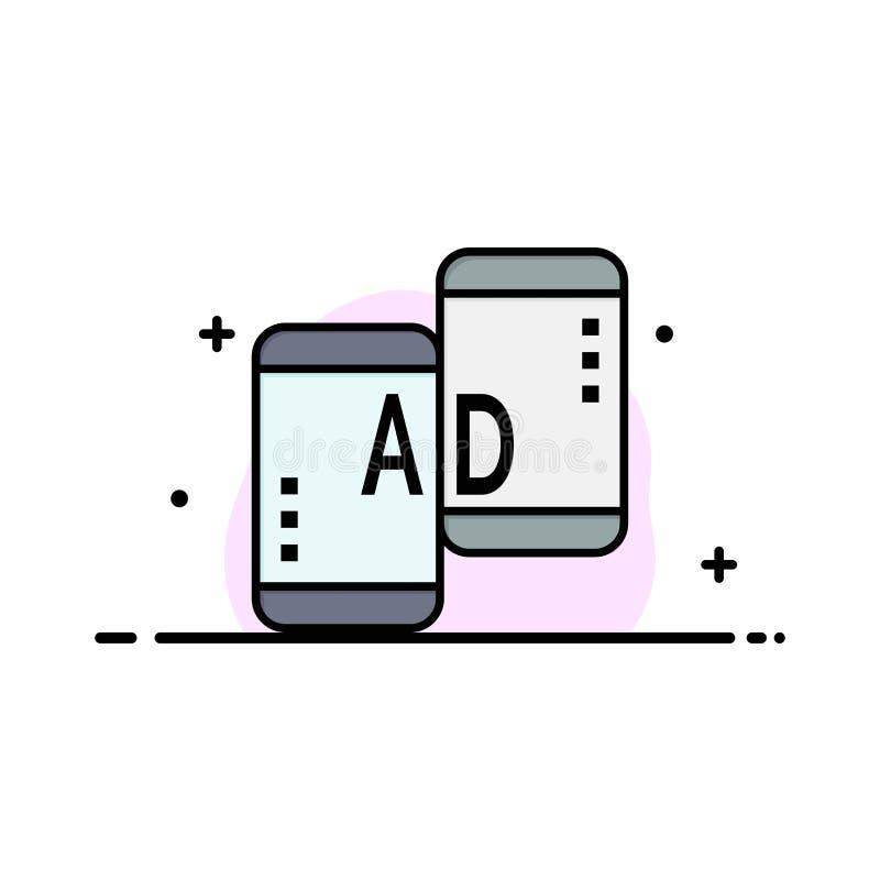 Adverterend, Mobiele, Mobiele Reclame, Marketing Malplaatje van de Bedrijfs het Vlakke Lijn Gevulde Pictogram Vectorbanner stock illustratie