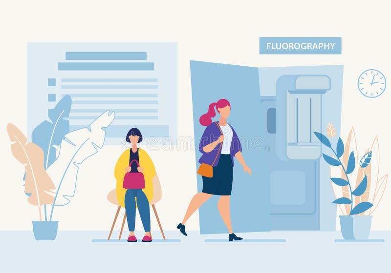 Adverterend Vliegerkabinet Fluorography in Kliniek vector illustratie