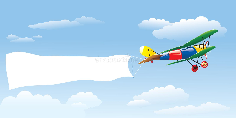 Adverterend Vliegtuig stock illustratie
