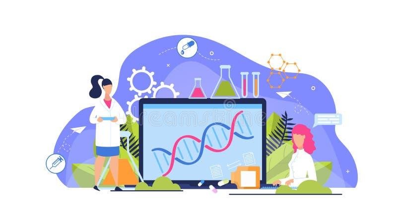 Adverterende het Beeldverhaalvlakte van de Vlieger Genetische Analyse royalty-vrije illustratie