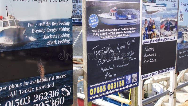 Adverterende raad voor dagtochten bij de kust Van Cornwall royalty-vrije stock foto's