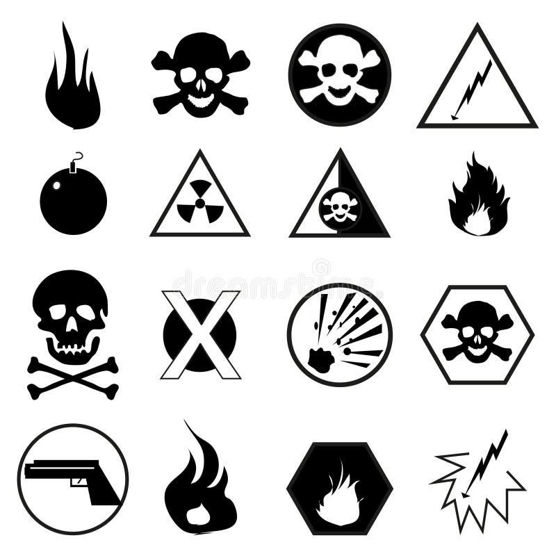 Advertindo e ícones do perigo ajustados ilustração stock