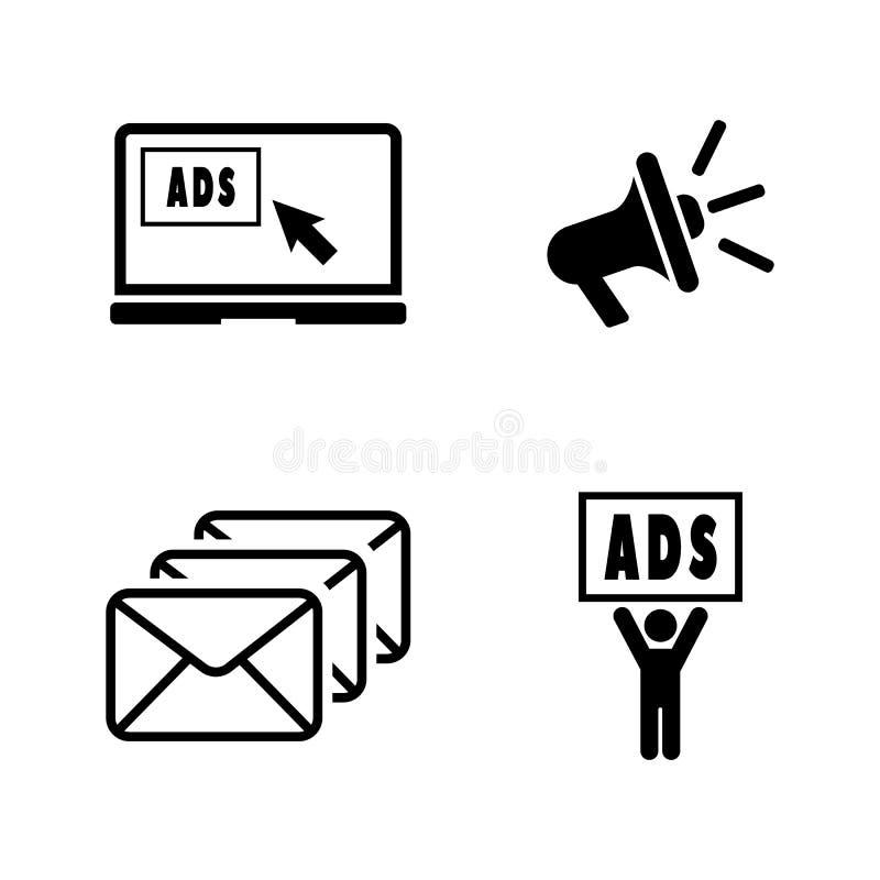 advertise Einfache in Verbindung stehende Vektor-Ikonen vektor abbildung