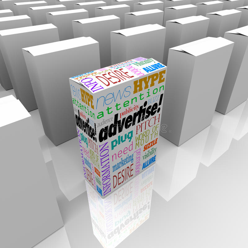 Download Advertise Words On Box Store Shelf Unique Marketing Stock Illustration - Illustration: 31864902