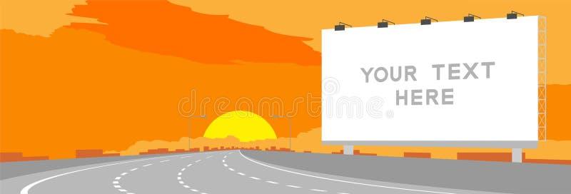 Advertisement Big Billboard Signage Highway or motorway bend in surise, sunset time illustration. On orange sky background, with copy space stock illustration