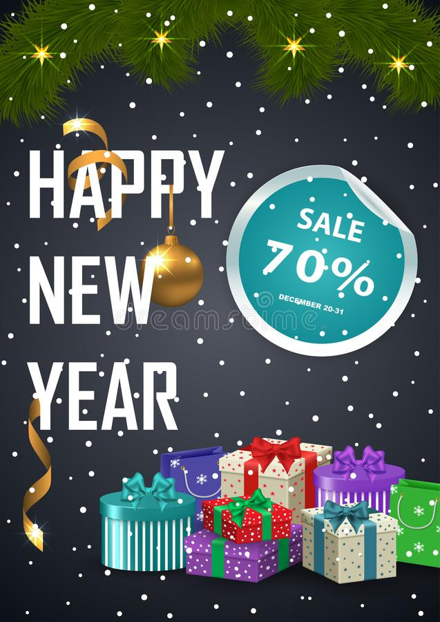 Advertisement poster Christmas sale. Vector illustration on a dark background stock illustration