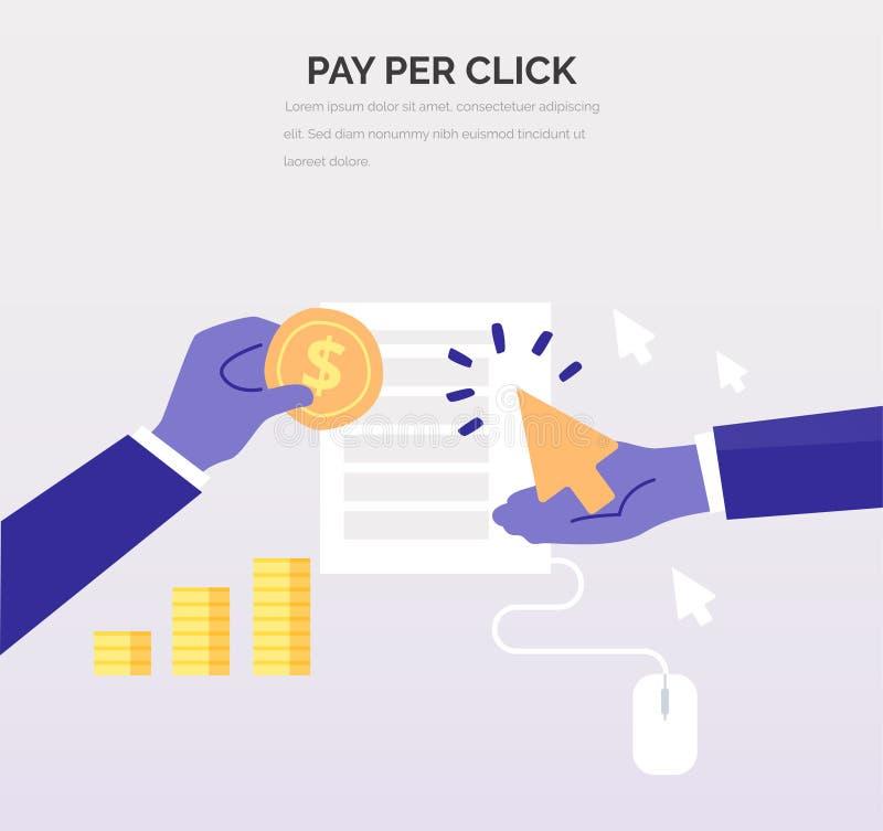 Advertiser płaci wydawcy - PPC Kreatywnie biznesowa ilustracja w mieszkanie stylu dla twój projekta Wynagrodzenie Na stuknięcie w ilustracji