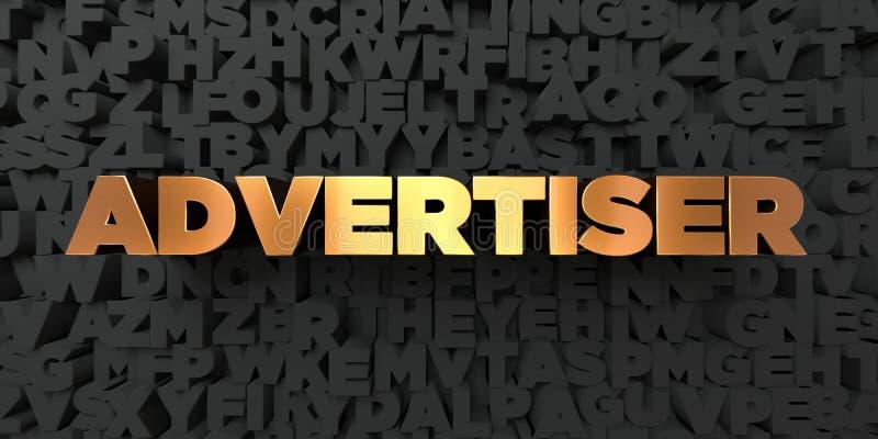 Advertiser - Złocisty tekst na czarnym tle - 3D odpłacający się królewskość bezpłatny akcyjny obrazek ilustracji
