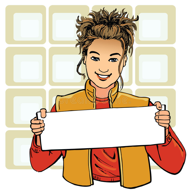 Advertising. Girl holding a blank poster. Ready for signage, branding and advertising. Colours of all clothes easily changed vector illustration