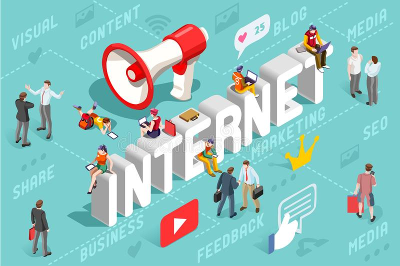 Internet Content Marketing Banner Vector. Advertising agency banner with internet marketing service concept. Isometric infographic of internet technology and royalty free illustration