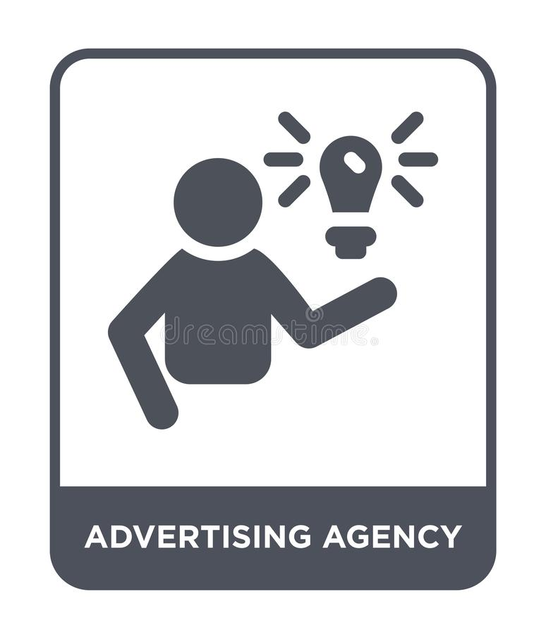 Advertising agency icon in trendy design style. advertising agency icon isolated on white background. advertising agency vector. Icon simple and modern flat royalty free illustration