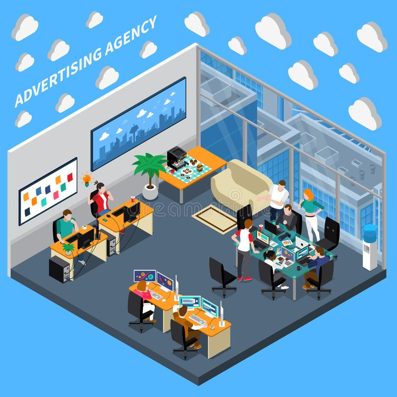 Advertising Agency Isometric Composition. On blue background with creative team, designers at office vector illustration stock illustration