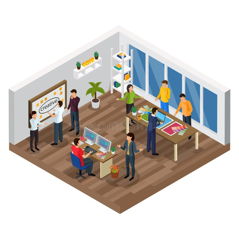 Advertising Agency Isometric Composition. With creative team, planning process, computer designer, office interior, vector illustration stock illustration