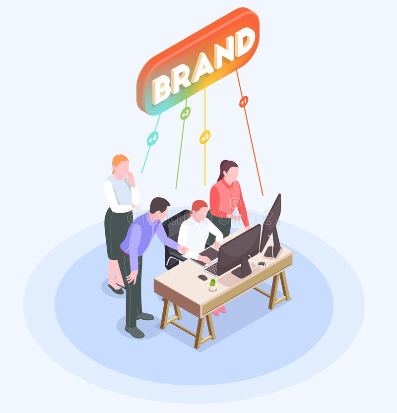 Advertising Agency Isometric Composition. Isometric composition with advertising agency employees brainstorming in office 3d vector illustration royalty free illustration