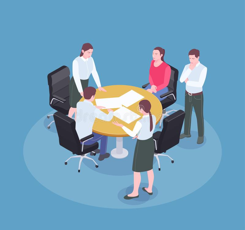 Advertising Agency Isometric Composition. People brainstorming at meeting in advertising agency office isometric composition 3d vector illustration stock illustration