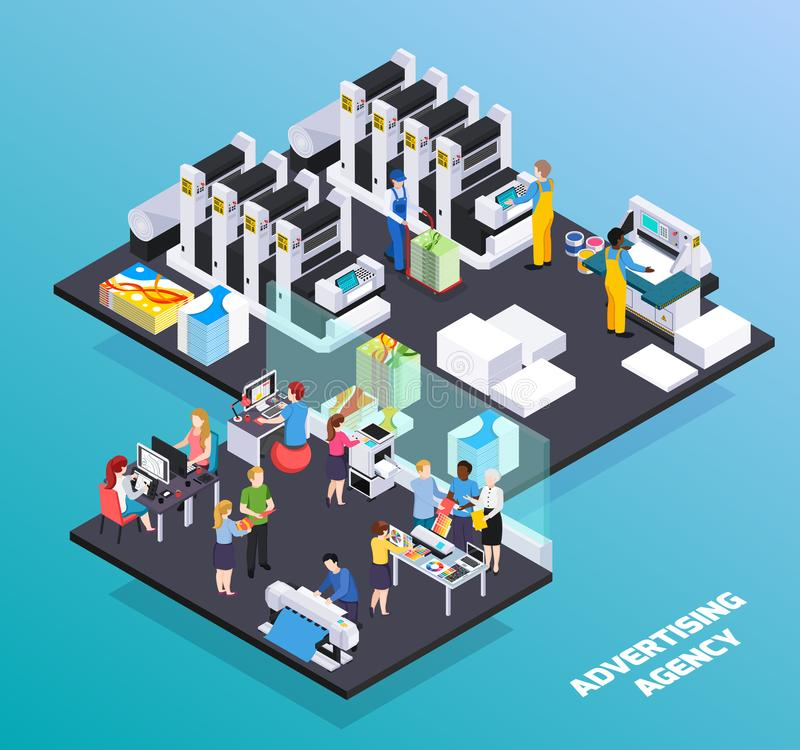 Advertising Agency Isometric Composition. Advertising agency personnel services isometric composition with ads designers clients promotion printing house stock illustration