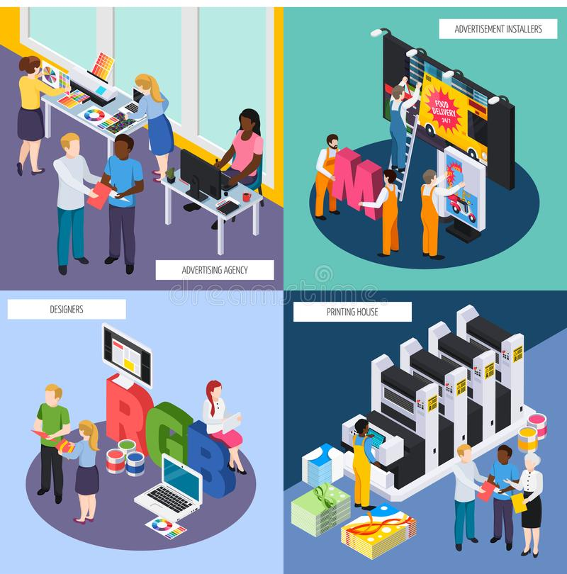 Advertising Agency Isometric Concept. Advertising agency personnel concept isometric 4 icons with designers banners signs installers printing house isolated royalty free illustration