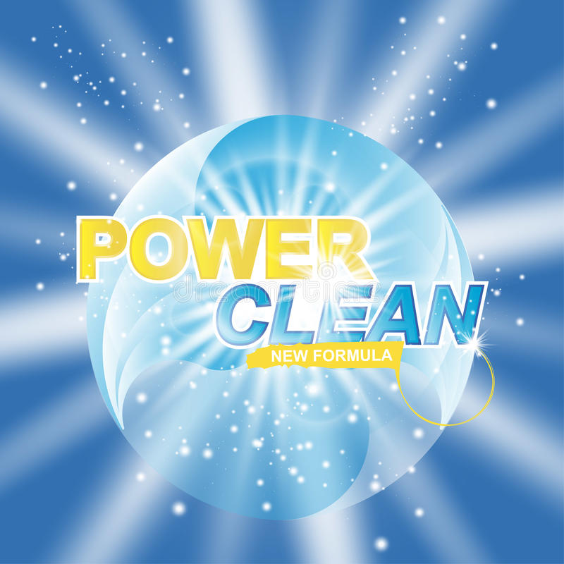 Advertising banner of detergent. Power Clean on light effect background.  stock illustration