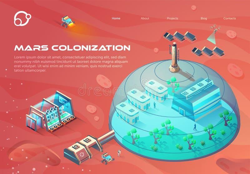 Advertising Banner Inscription Mars Colonization. stock illustration