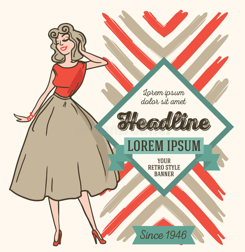 Advertising banner in retro american style, 1950s styled woman stock illustration