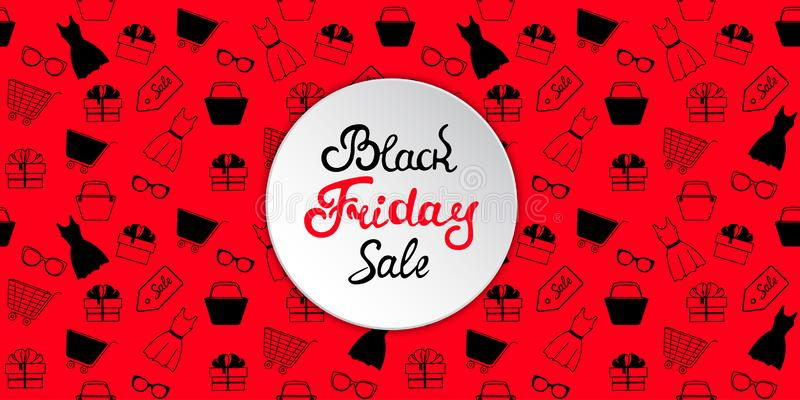 Advertising banner to Black Friday sale with women`s clothing and accessories for shopping. stock illustration