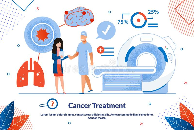 Advertising Banner is Written Cancer Treatment. Biological and Cultural Research Methods in Medicine. Man Stands Next to Woman with Folder, against Background vector illustration