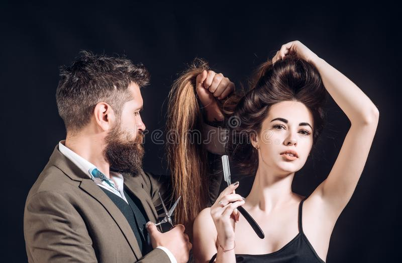 Advertising and barber shop concept. Razor blade. Hairdressers work for a handsome guy at the barber shop. Barber shop. Design. Portrait bearded man stock photography