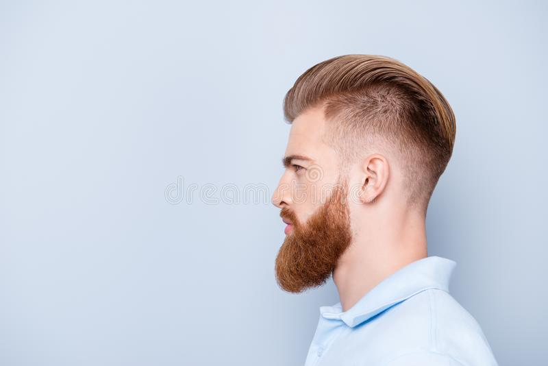 Advertising barbershop concept. Profile side portrait of confide royalty free stock photography