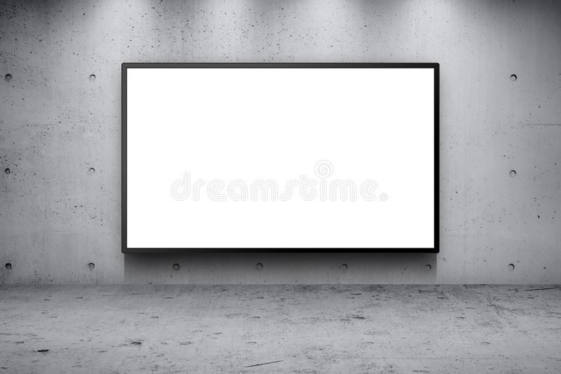 Advertising billboard led panel on concrete wall stock photos